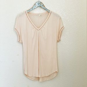 Anthropologie Meadow Rue Blush V-Neck Blouse Small